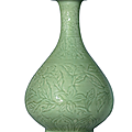 A very rare carved Longquan celadon bottle vase,yuhuchunping, Hongwu period (1368-1398)