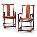 A pair of huanghuali Southern official's hat <b>armchairs</b>, guanmaoyi, 19th century