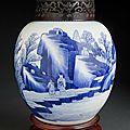 Paire de jarres à gingembre en porcelaine <b>bleu</b> et <b>blanc</b>. Chine, Époque Kangxi