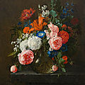 <b>Cornelis</b> de Heem (Leiden 1631–1695 Antwerp), Large bouquet of flowers in a glass vase on a stone plinth