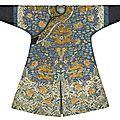 A mid-<b>blue</b>-<b>ground</b> 'dragon' robe, First half 19th century