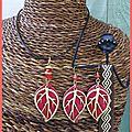 Parure cuir corail et feuilles bois (P71)