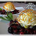 Coupelle meringuée et sorbet citron grillagé sur lit de fruits rouges