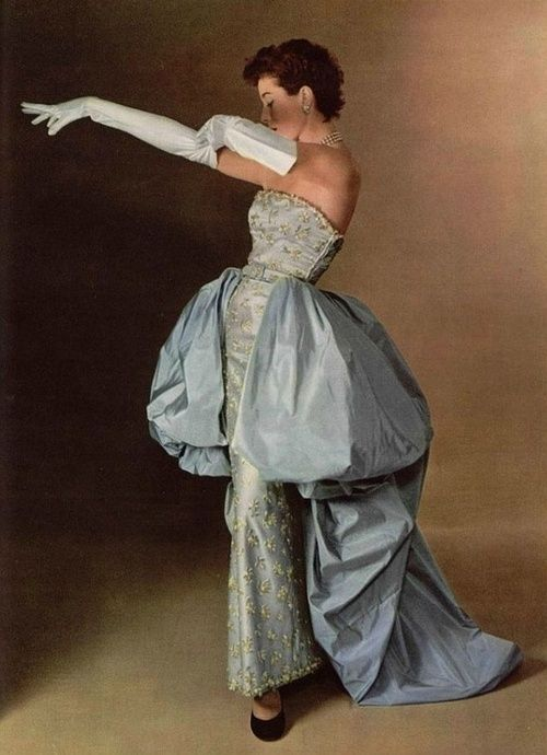 Model wearing a Balenciaga evening gown for L'Officiel, 1950s, Photo by Philippe Pottier.