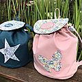 Une jolie commande pour des jumeaux. Toile de coton rose poudré, liberty et lin <b>lavé</b>, de jolies matières pour un beau projet.