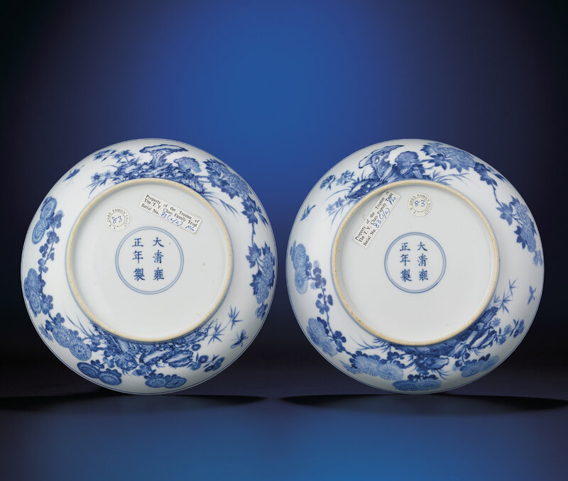 A fine and rare pair of blue and white 'Peony' dishes, Yongzheng six-character marks within double-circles and of the period (1723-1735)