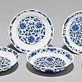 A set of six blue and white 'Lotus' dishes, Tongzhi six-character marks in underglaze blue and of the period (1862-<b>1874</b>)