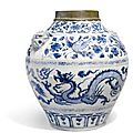 A Magnificent And Rare Blue And White 'Dragon And <b>Phoenix</b>' Jar, Yuan Dynasty