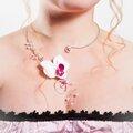 collier fil aluminium et fleur orchidée - mariée - mariage - cérémonie