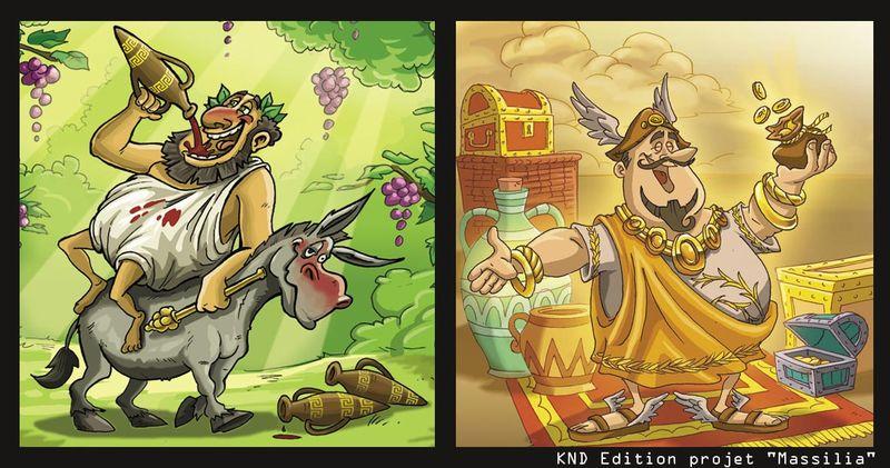 bacchus et Mercure dessin humour jeu société massilia brienne