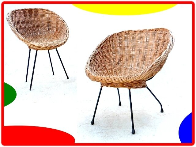 FAUTEUIL COQUILLE EN ROTIN VINTAGE 1960