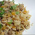 Porc et riz sautés au poivron, saveurs asiatiques
