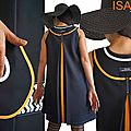 MOD 393B robe Printemps 2016 Trapèze bicolore noire Orange blanc motif geometrique (1)