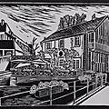 Dole - Canal des tanneurs - Linogravure
