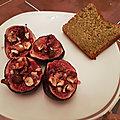 <b>Figues</b> rôties aux noisettes, cake au citron vert et thé matcha