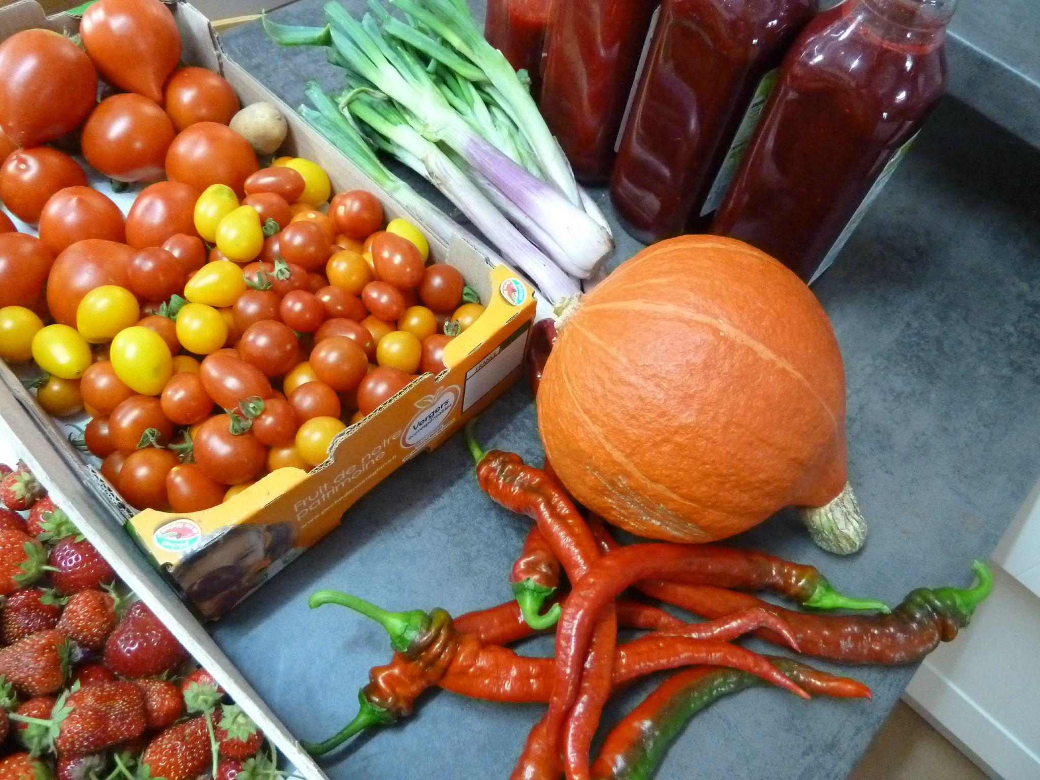 tomates, piments doux des landes, potimarron, coulis mure framboises www.passionpotager.canalblog.com