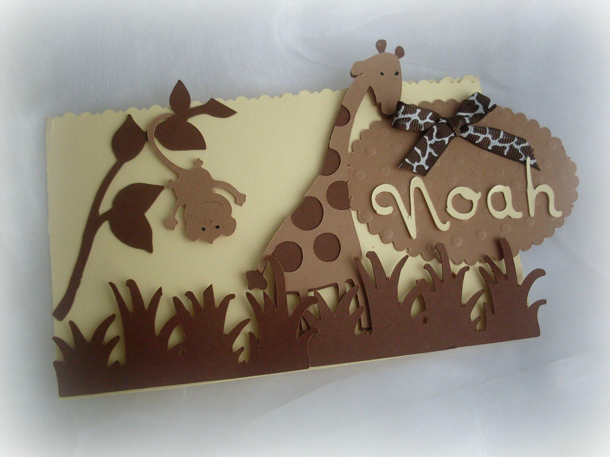 Un joli faire part de naissance #jungle #safary #beige marron chocolat