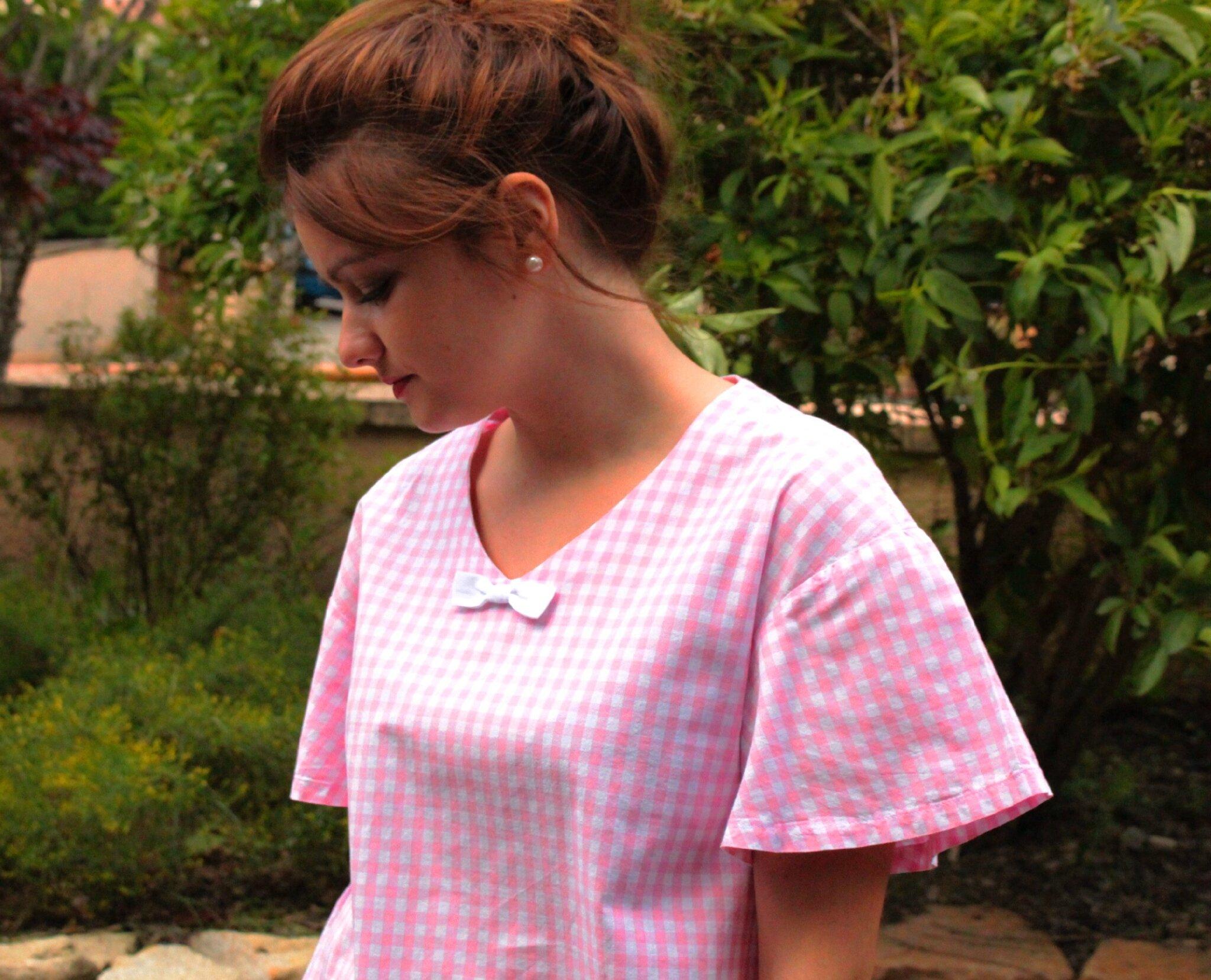 Petite blouse en vichy rose