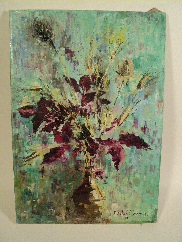 Tableau Peinture Bouquet de Fleurs Signé et daté 1963