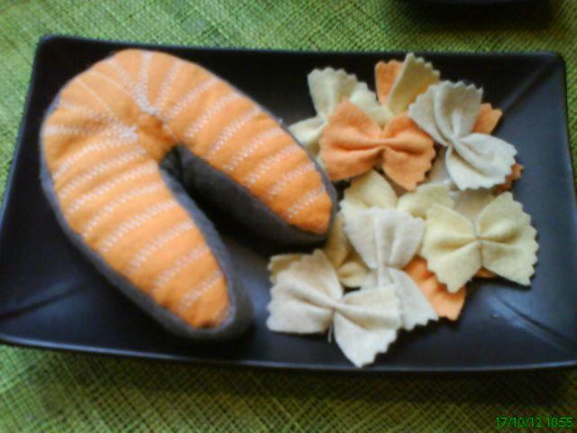 Darne de saumon et ses farfalles