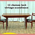 12 chaises teck & skaï vintage scandinave 1960 vendu