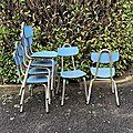 chaises formica bleu vinta