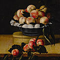 Louise moillon, still life of a peaches in a bowl standing on a wooden box on a ledge, an apricot branch resting in the foregrou