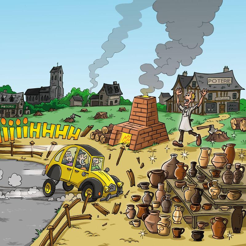 illustration 2cv Noron La Poterie Plages du Debarquement