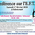 Seloncourt, samedi 1er février 2020, conférence sur l'E.F.T. à 20 h
