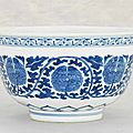 A <b>blue</b> <b>and</b> <b>white</b> '<b>Peony</b>' <b>bowl</b>, Daoguang six-character seal mark in underglaze-<b>blue</b> <b>and</b> of the period (1821-1850)