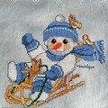 bonhomme de neige sur une luge brodé pour un RR