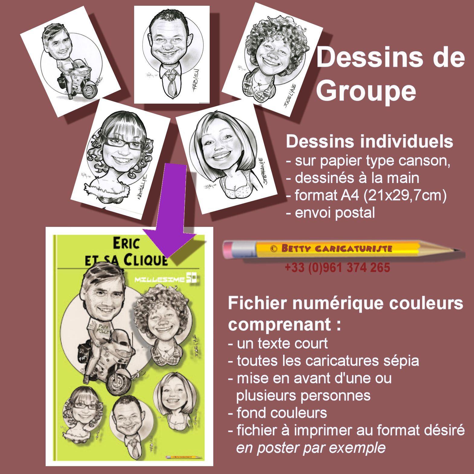caricature numerique portrait famille arbre genealogique