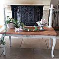 Table en chêne patinée en blanc poudré
