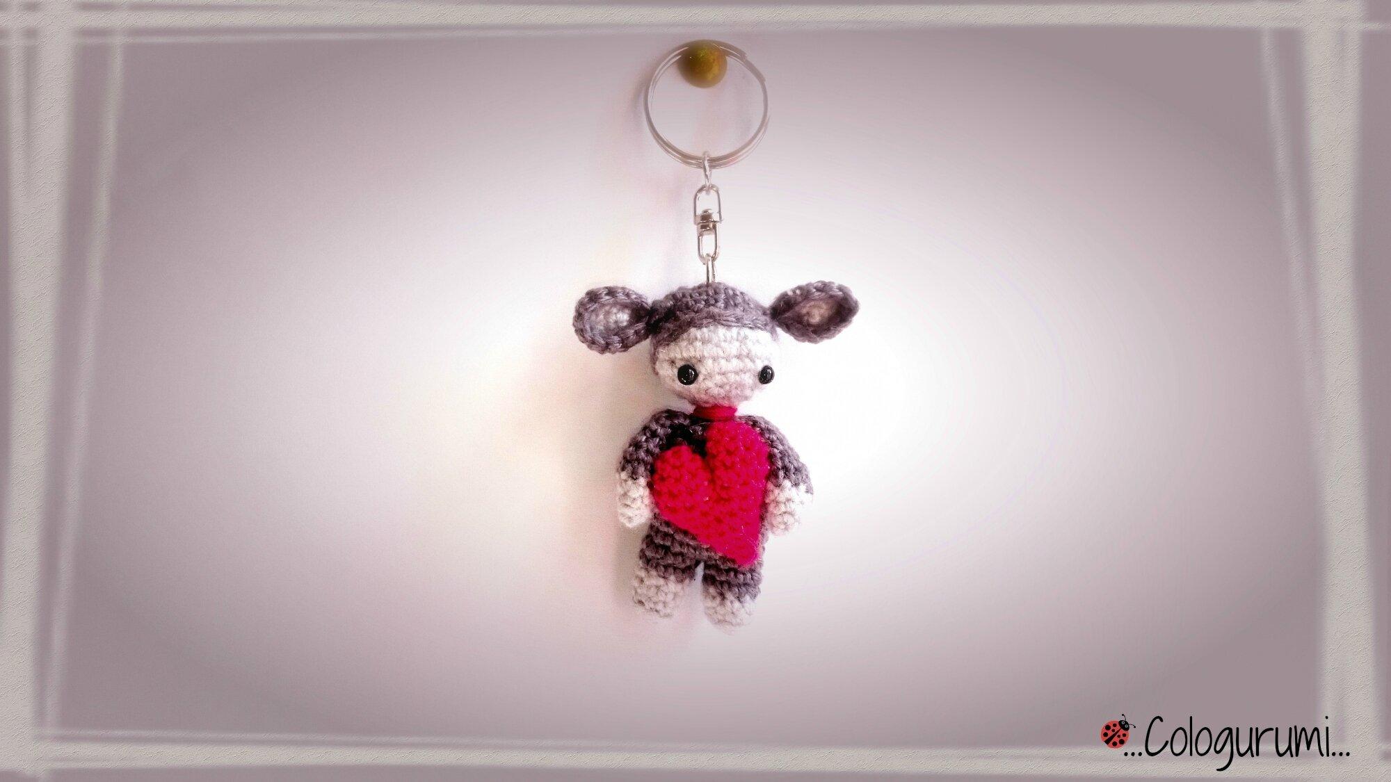 Porte clé crochet bébé coeur