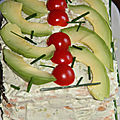 SANDWICH-CAKE AVOCAT, <b>MOZZARELLA</b>, TOMATES CERISE FROMAGE FRAIS