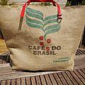 Sac de plage xxl avec sac à cafes do brasil - réversible sac à riz de thaïlande - modèle unique -