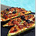Courgette façon pizza au chorizo et mozzarella