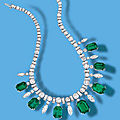A fine <b>emerald</b> and diamond necklace, circa 1950