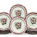 A set of fourteen Spanish market armorial plates, circa <b>1769</b>