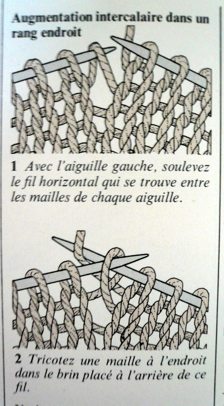 augmentation maille tricot