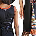 Robe Dentelle laçage Dos fantaisie noire et imprimé Crochet aux couleurs automnales !