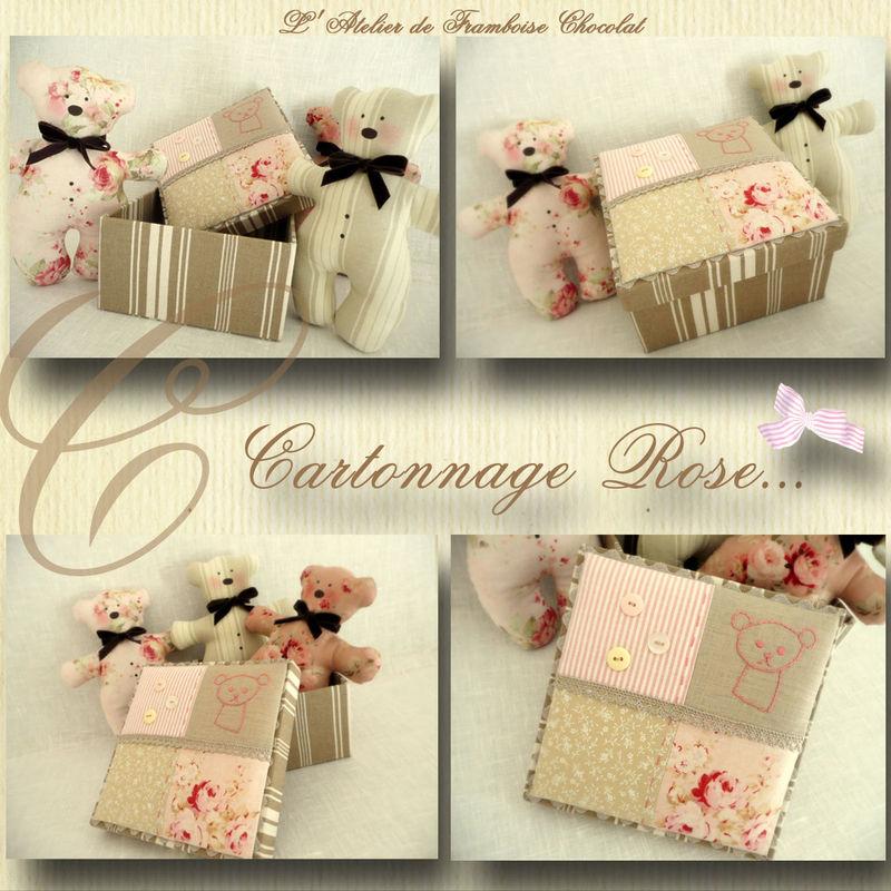 Cartonnage rose mosaique...