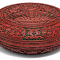 A large finely carved polychrome lacquer 'chun' box <b>and</b> cover, <b>Qianlong</b> <b>mark</b> <b>and</b> <b>period</b> (<b>1736</b>-<b>1795</b>)