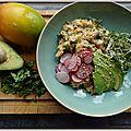 Bol de riz et quinoa, avocat et crabe au wasabi