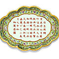 A lime-<b>green</b> <b>ground</b> famille-rose 'Tea-poem' tray, Jiaqing seal mark and period