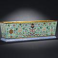 A rectangular <b>turquoise</b>-groundfamille rosejardinière, Qianlong period (1736-1995)