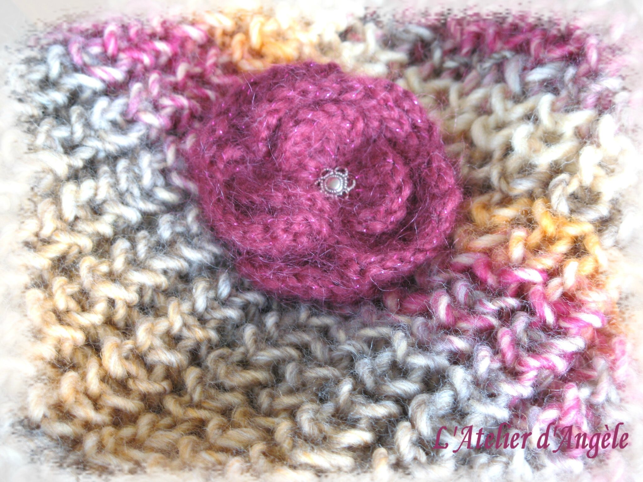 Broche crochet fuschia