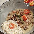 Une bonne <b>blanquette</b> de veau moutardée et aux asperges vertes......