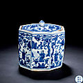 A <b>Blue</b> and White 'Scholars' Octagonal Box and Cover, Wanli Period, 1573-1620