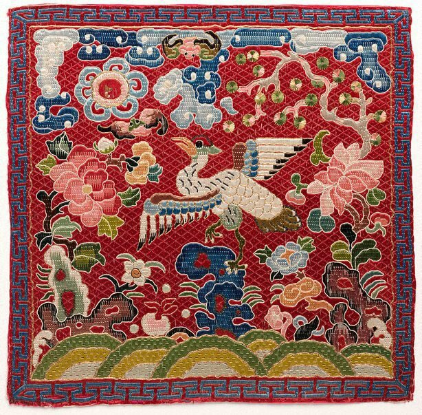 Civil rank badge, 8th rank (Mandarin duck insignia) Viet Nam, Nguyen dynasty, 1850-1875; embroidered silk, 27.0 x 28.0 cm .Gift of Judith and Ken Rutherford 2005,108.2005. Art Gallery of New South Wales, Sydney (C) Art Gallery of NewSouth Wales, Sydney